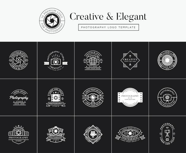 Ensemble d'emblèmes de photographie premium, insignes et logo