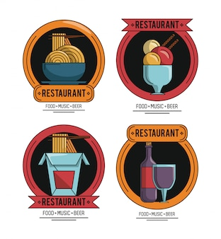 Ensemble d'emblèmes de restaurant