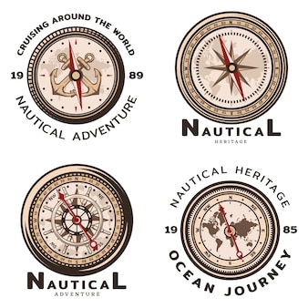 Ensemble d'emblèmes ronds nautiques colorés vintage