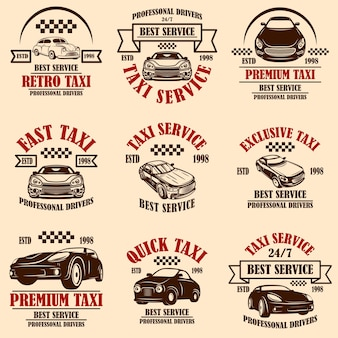 Ensemble d'emblèmes de service de taxi. élément de design pour affiche, carte, bannière, logo, étiquette.
