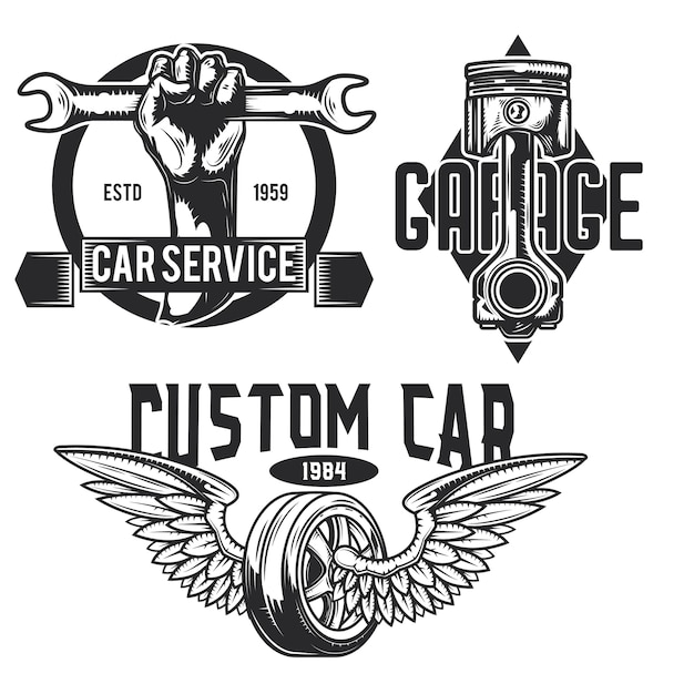 Ensemble d'emblèmes de service de voiture, étiquettes, badges, logos.