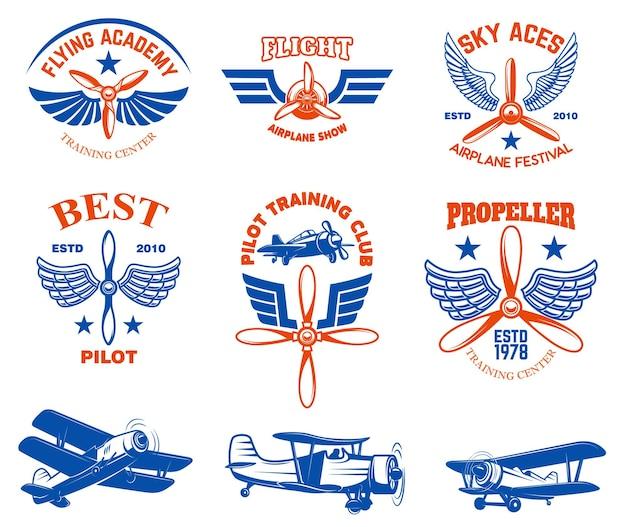 Ensemble d'emblèmes de spectacle d'avion vintage. éléments de conception pour le logo, l'étiquette, le signe, le menu.