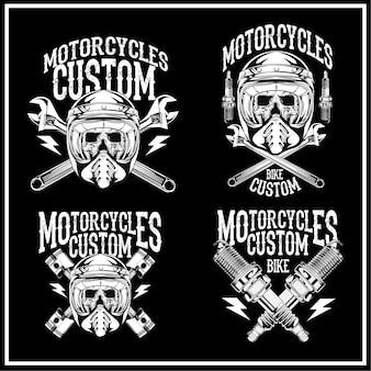 Ensemble d'emblèmes de style vintage moto