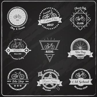 Ensemble d'emblèmes de tableau de vélo