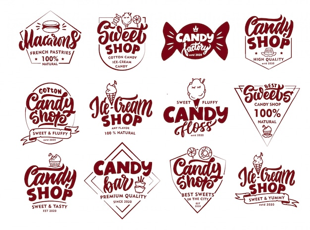 Ensemble d'emblèmes et de timbres candy vintage. insignes de confiserie, autocollants isolés.