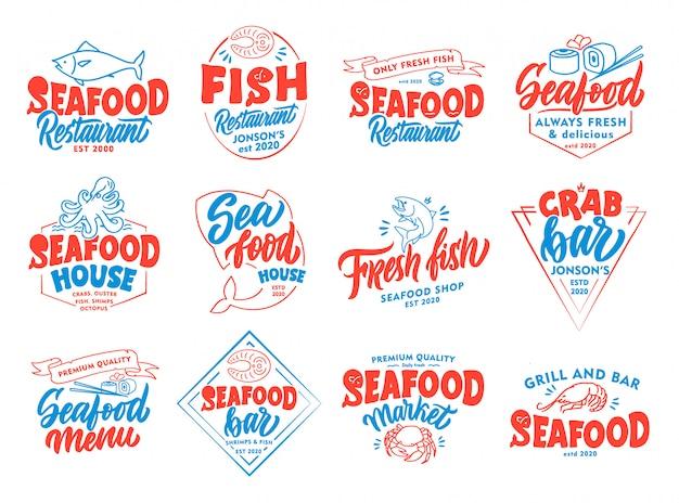 Ensemble d'emblèmes et de timbres de fruits de mer vintage. insignes colorés, modèles, autocollants isolés