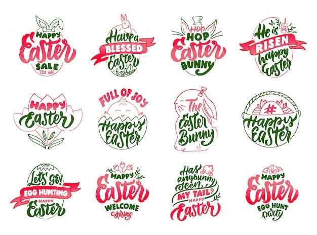 Ensemble d'emblèmes et timbres de joyeuses pâques vintage.