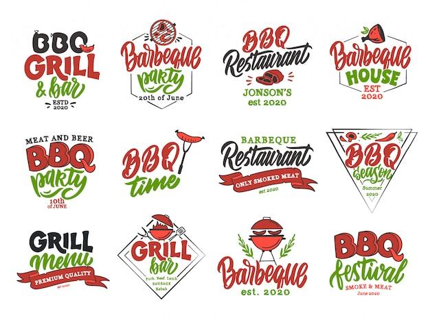 Ensemble d'emblèmes et de timbres de temps bbq vintage. badges colorés, modèles, autocollants