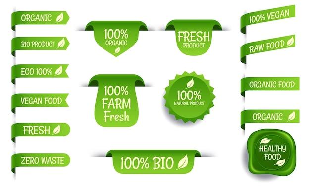 Ensemble d'emblèmes vectoriels avec inscriptions vegan, eco, bio, bio