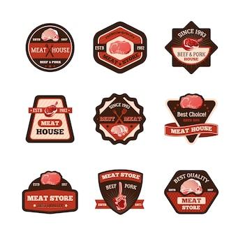 Ensemble d'emblèmes de viande
