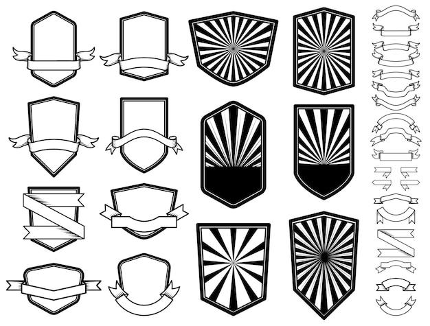 Ensemble d'emblèmes vides. élément de design pour logo, étiquette, badge, signe.