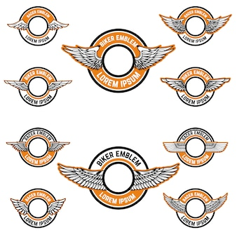 Ensemble d'emblèmes vierges avec des ailes. modèles d'étiquettes pour club de motards, communauté de coureurs. illustration