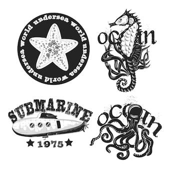 Ensemble d'emblèmes vintage sous-marins isolé sur blanc