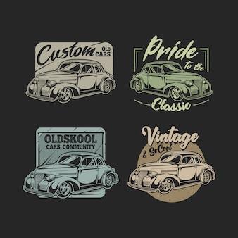 Ensemble d'emblèmes de voitures anciennes avec jeu de couleurs classique
