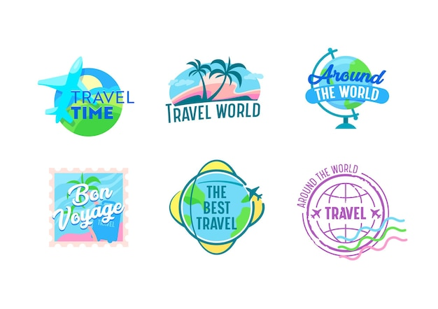 Ensemble d'emblèmes de voyage avec avions, globe terrestre, palmiers et timbre postal. icônes pour le service d'agence de voyage ou l'application de téléphone portable, étiquettes de vecteur de dessin animé isolés sur fond blanc