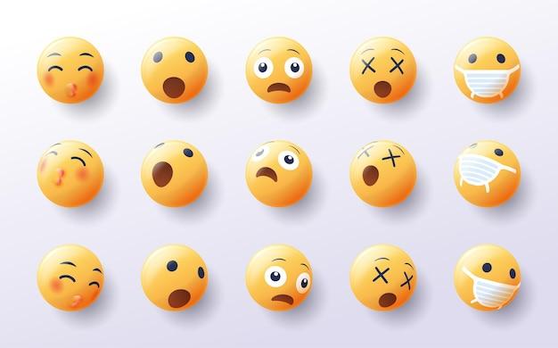 Ensemble d'emoji 3d dans divers points de vue