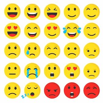 Ensemble d'emoji smiley mignon plat, illustration vectorielle.