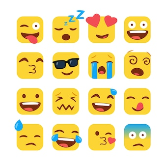 Ensemble d'emojis carrés drôles