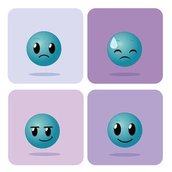 Ensemble d'emojis sur la collection d'icônes de carrés