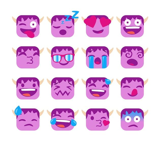 Ensemble d'emojis drôles avec visage de troll