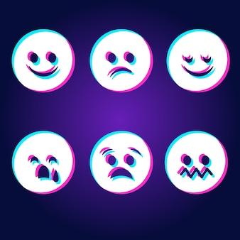 Ensemble d'emojis glitch