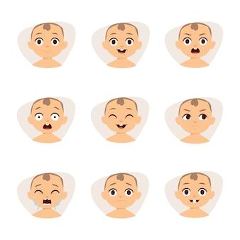 Ensemble d'émoticônes de bébé mignon très simples mais expressifs visages de dessins animés.