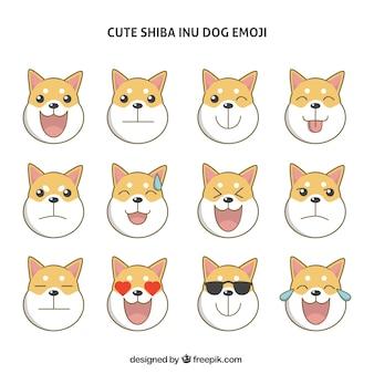 Ensemble de émoticônes de chien shiba inu