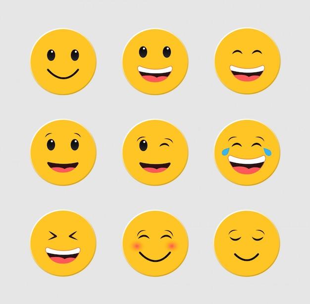 Ensemble d'émoticônes drôles. emoji. ensemble de smileys.