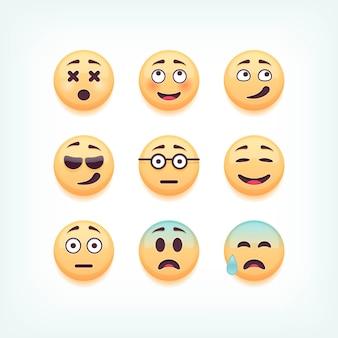 Ensemble d'émoticônes, emoji sur fond blanc, illustration.