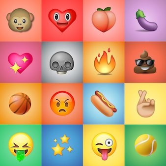 Ensemble d'émoticônes, emoji, fond coloré, illustration
