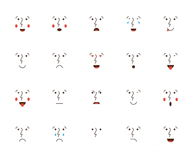 Ensemble d'émoticônes ou emoji. illustration vectorielle.