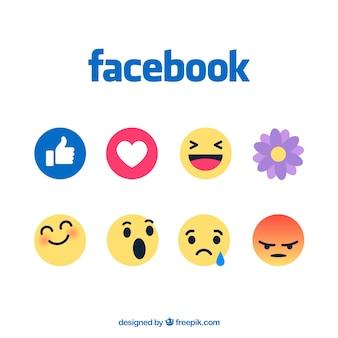 Ensemble d'émoticônes facebook dans un style plat