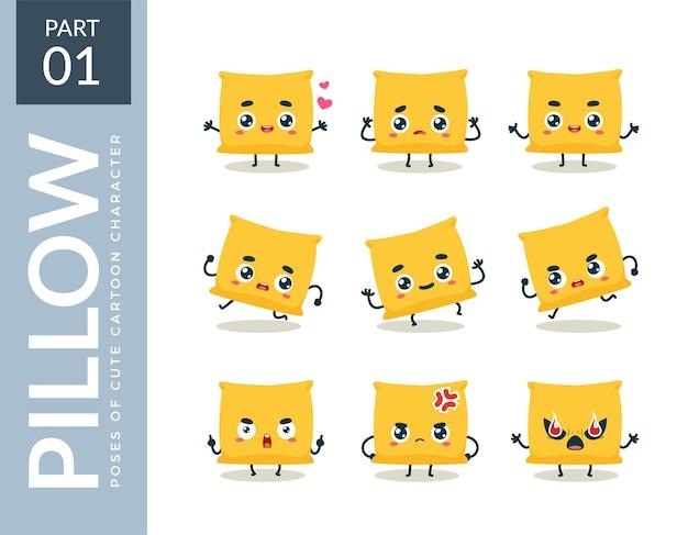 Ensemble d'émoticônes d'oreiller jaune. première série. illustration vectorielle