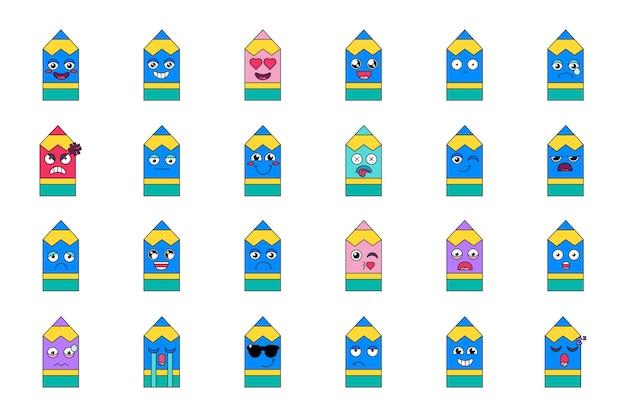 Ensemble d'émoticônes de sentiments au crayon. pack emoji heureux, fou, endormi et larmoyant. autocollants de dessin animé de médias sociaux