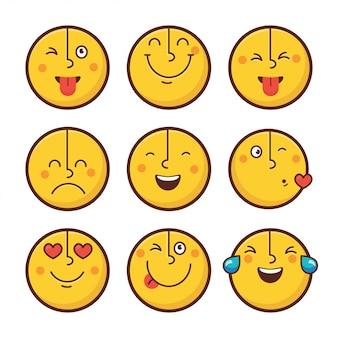 Ensemble d'émoticônes visage émoticônes