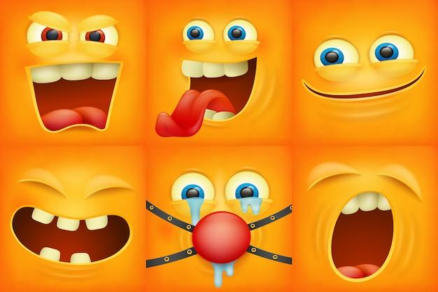 Ensemble d'émoticônes visages jaunes icônes carrées de caractères emoji