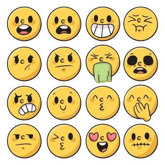 Ensemble d'émotion de personnes, réaction dessin animé mignon