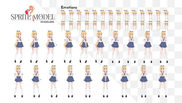 Ensemble d'émotions caractère complet sur toute la longueur pour le roman visuel du jeu. anime manga girl, personnage de dessin animé dans le style japonais.écolière dans un costume de marin, jupe bleue