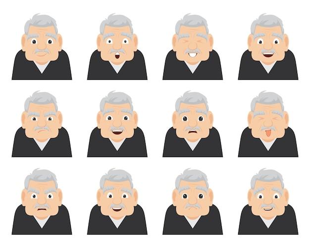 Un ensemble d'émotions du grand-père sur le visage.