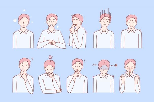 Ensemble d'émotions et d'expressions faciales pour les garçons