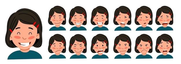 Un ensemble d'émotions féminines. la fille asiatique est un avatar.
