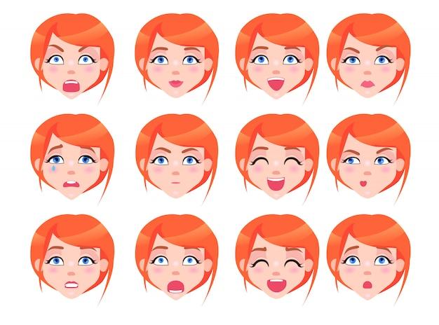 Ensemble d'émotions féminines d'une fille rousse plate