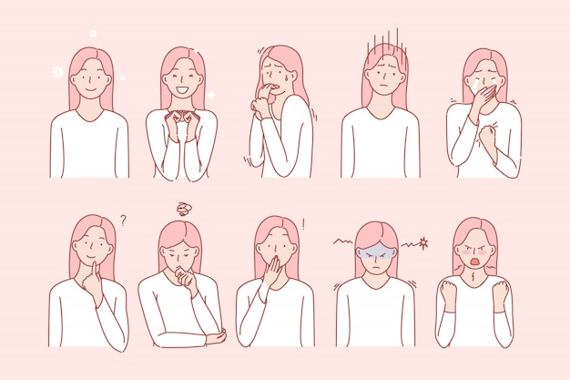 Ensemble d'émotions de filles ou d'expressions faciales