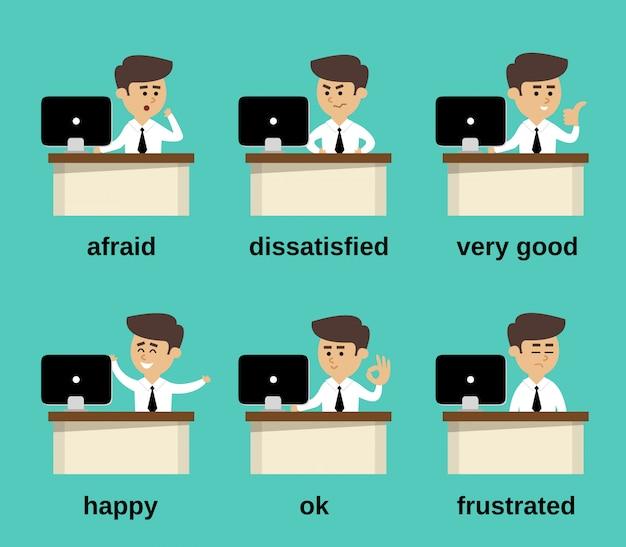Ensemble d'émotions d'homme d'affaires