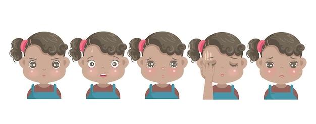 Ensemble d'émotions négatives du visage de petite fille africaine. enfant exprimant la haine, la peur, le regret, la colère, la honte, la tristesse et la culpabilité.