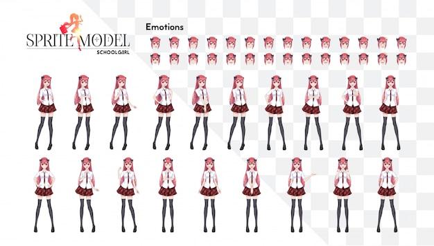 Ensemble d'émotions. sprite personnage de pleine longueur pour le roman visuel du jeu. anime manga girl, personnage de dessin animé dans un style japonais. dans une chemise blanche, une jupe rouge dans une cage, une cravate et des bas-collants noirs