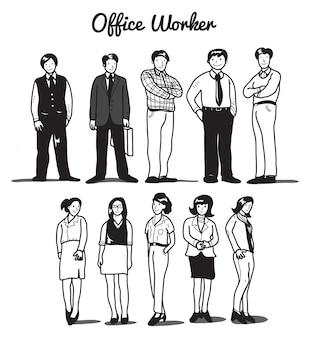Ensemble d'employé de bureau de dessin animé