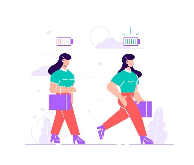 Ensemble d'employées de bureau femmes heureuses et malheureuses et indicateur de charge vitale d'alimentation ou de batterie.