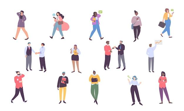 Ensemble d'employés de bureau masculins et féminins qui se parlent illustration colorée de dessin animé plat