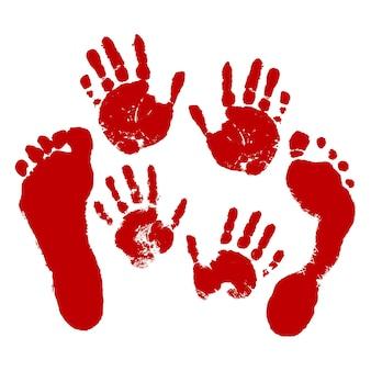 Ensemble d'empreintes de mains et de pieds de sang impressions rouges